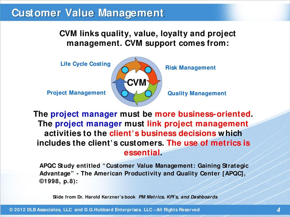 The project manager must link project management activities to the client s business decisions which includes the client s customers.