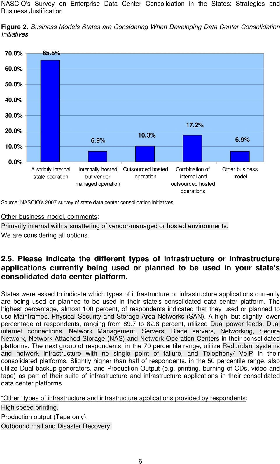 NASCIO s 2007 survey of state data center consolidation initiatives. Other business model, comments: Primarily internal with a smattering of vendor-managed or hosted environments.