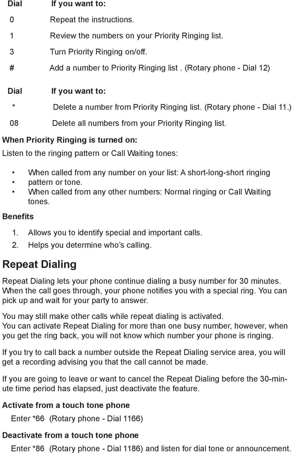 When Priority Ringing is turned on: Listen to the ringing pattern or Call Waiting tones: When called from any number on your list: A short-long-short ringing pattern or tone.