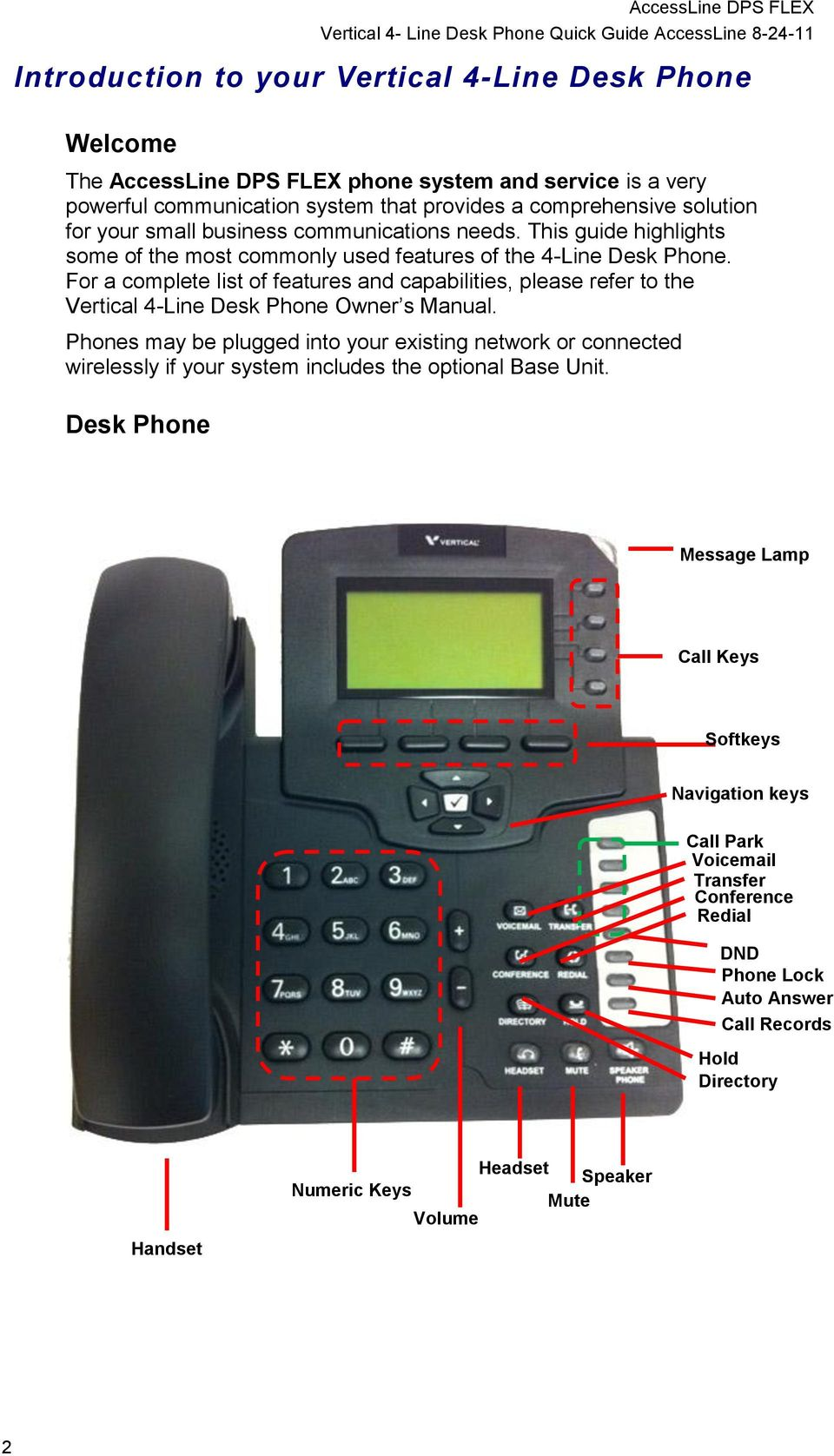 For a complete list of features and capabilities, please refer to the Vertical 4-Line Desk Phone Owner s Manual.