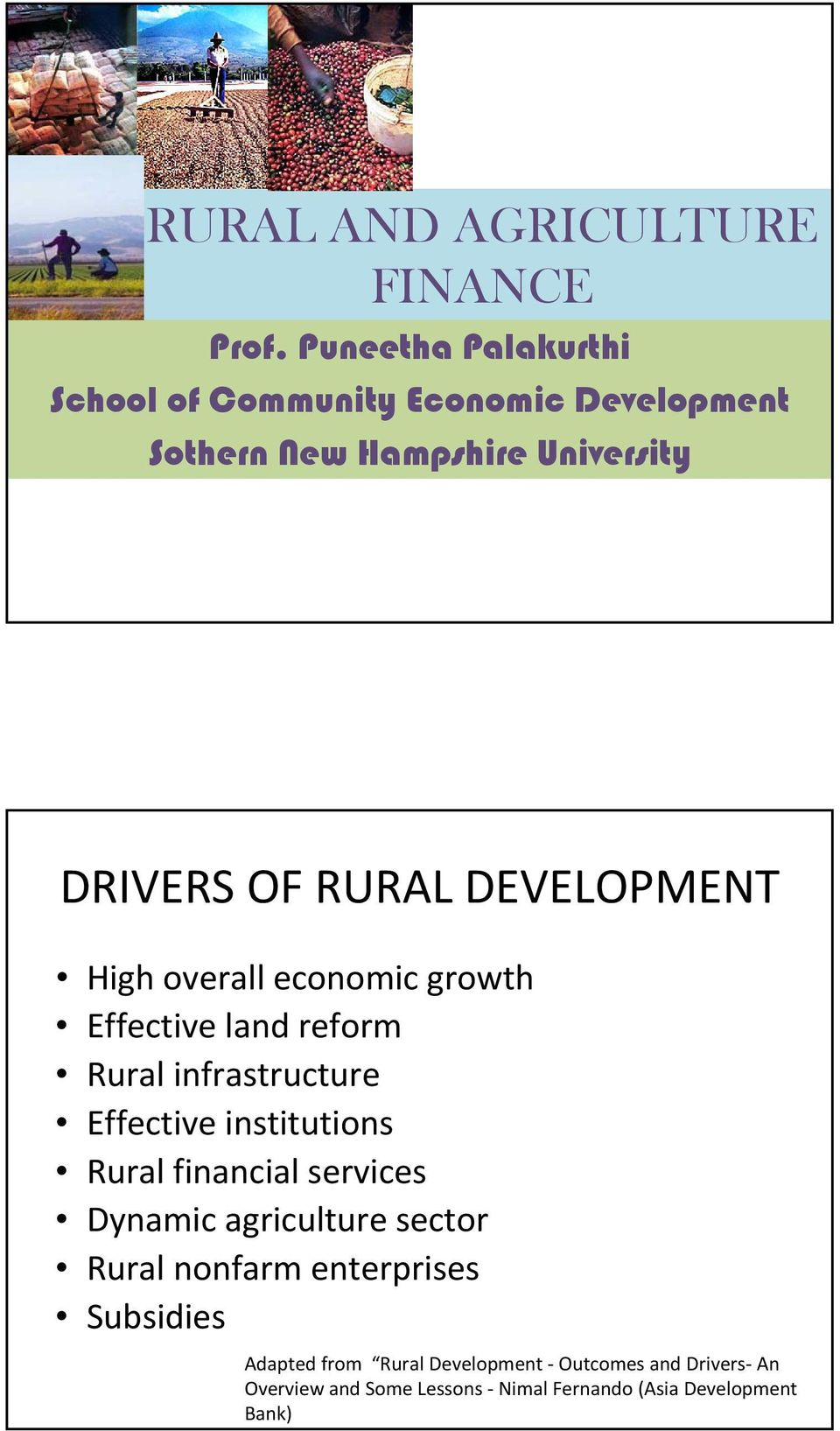 DEVELOPMENT High overall economic growth Effective land reform Rural infrastructure Effective institutions Rural