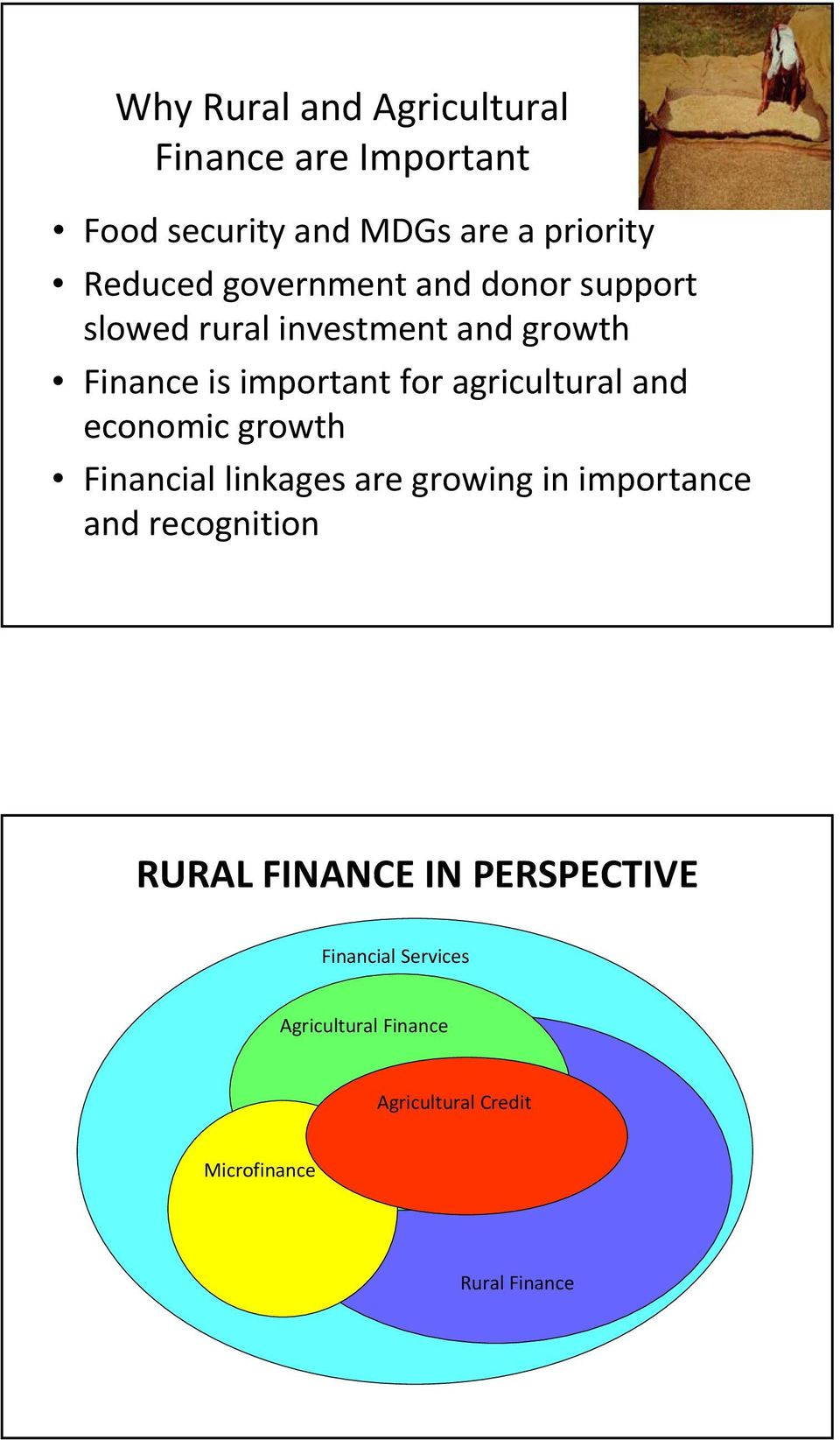 and economic growth Financial linkages are growing in importance and recognition RURAL FINANCE IN