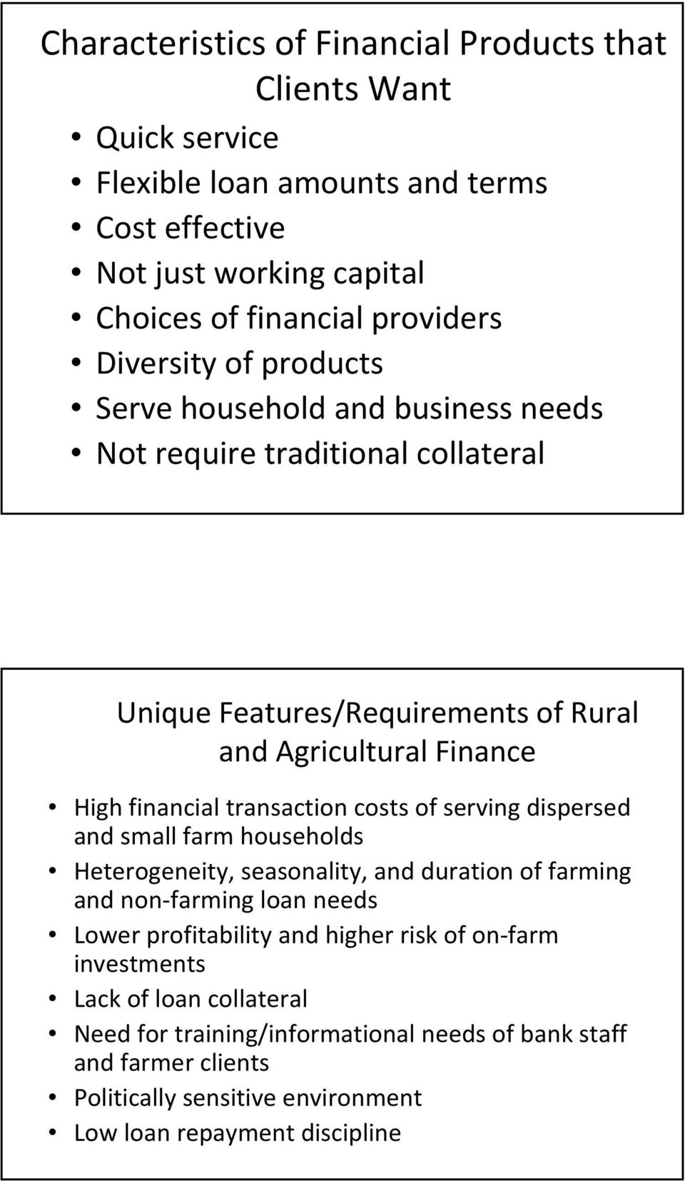 transaction costs of serving dispersed and small farm households Heterogeneity, seasonality, and duration of farming and non farming loan needs Lower profitability and higher