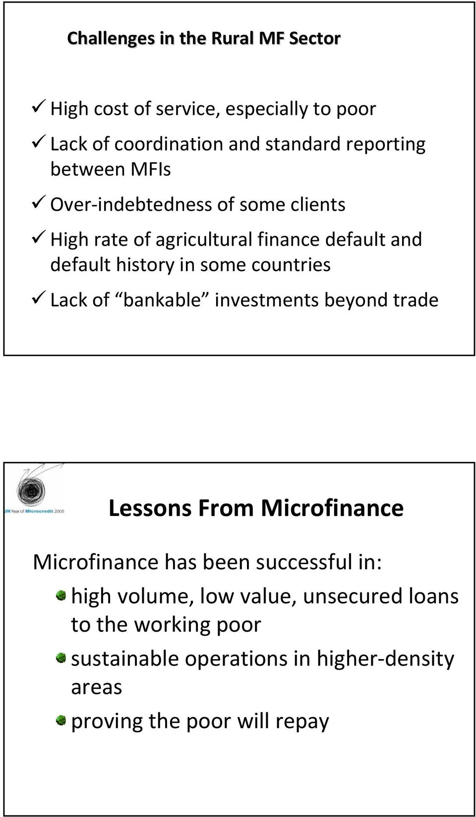 countries Lack of bankable investments beyond trade Lessons From Microfinance Microfinance has been successful in: high