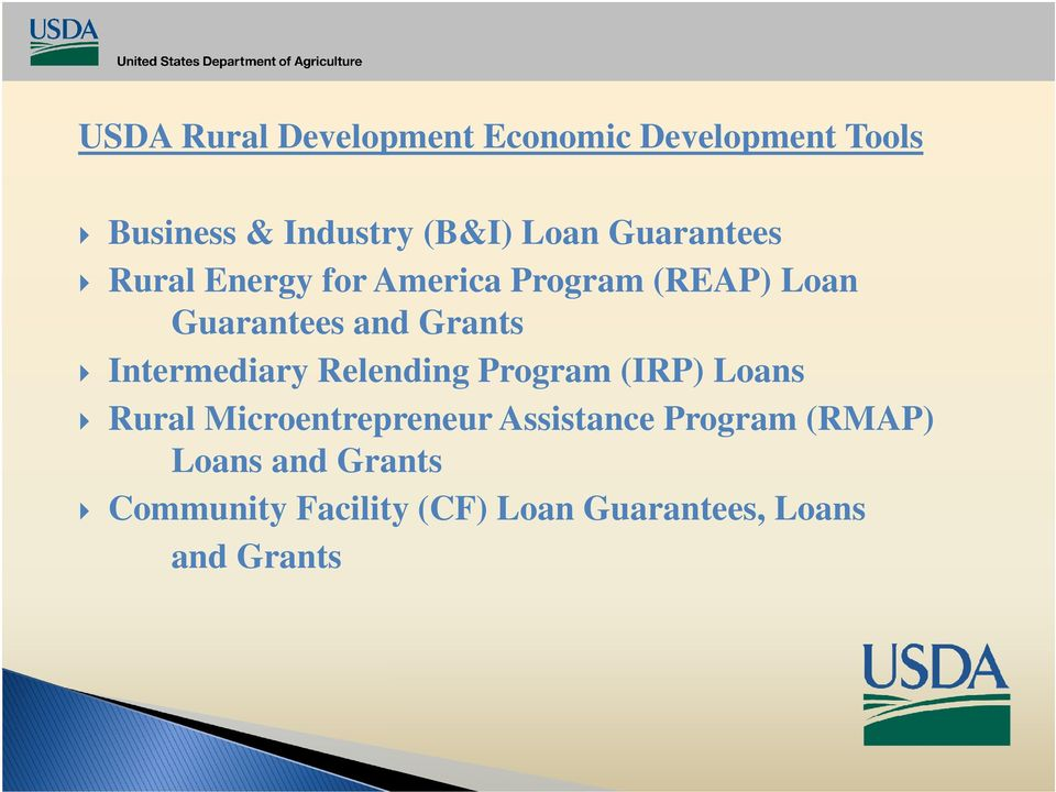 Intermediary Relending Program (IRP) Loans Rural Microentrepreneur Assistance