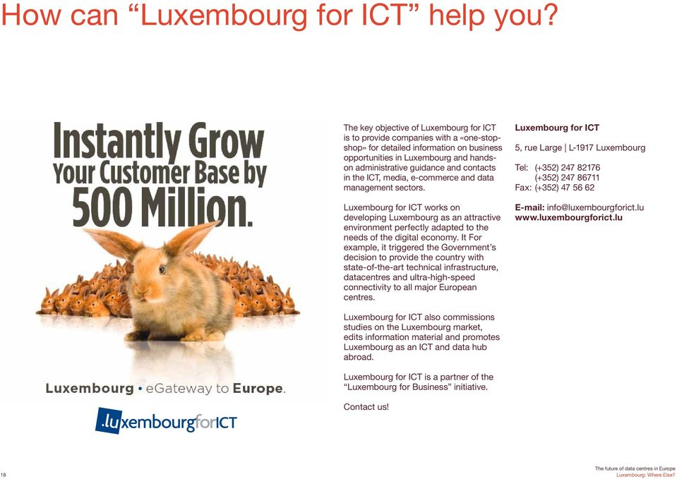 in the ICT, media, e-commerce and data management sectors. Luxembourg for ICT works on developing Luxembourg as an attractive environment perfectly adapted to the needs of the digital economy.