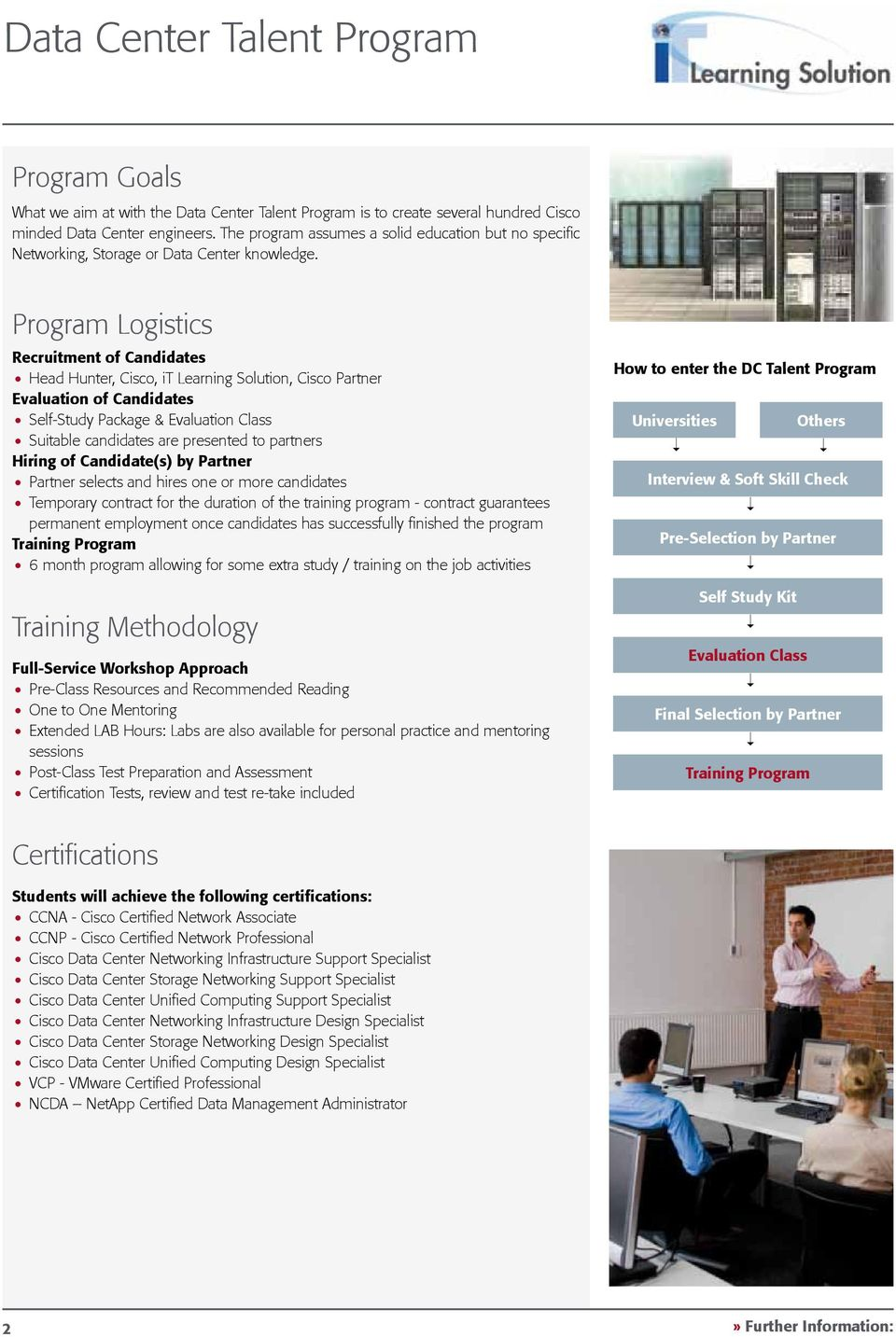 Program Logistics Recruitment of Candidates Head Hunter, Cisco, it Learning Solution, Cisco Partner Evaluation of Candidates Self-Study Package & Evaluation Class Suitable candidates are presented to