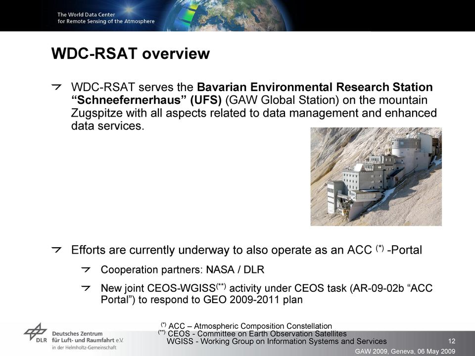 Efforts are currently underway to also operate as an ACC (*) Portal Cooperation partners: NASA / DLR New joint CEOS WGISS (**) activity under CEOS