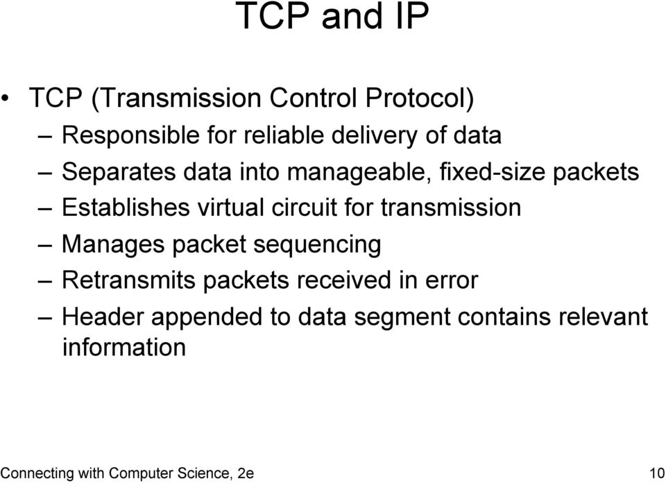 transmission Manages packet sequencing Retransmits packets received in error Header