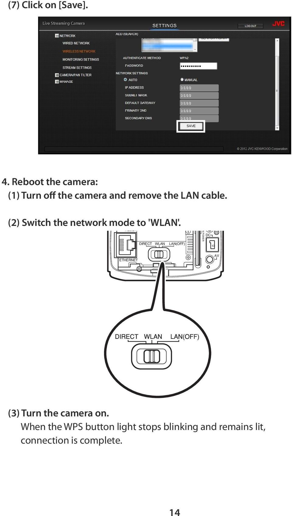 (2) Switch the network mode to 'WLAN'.