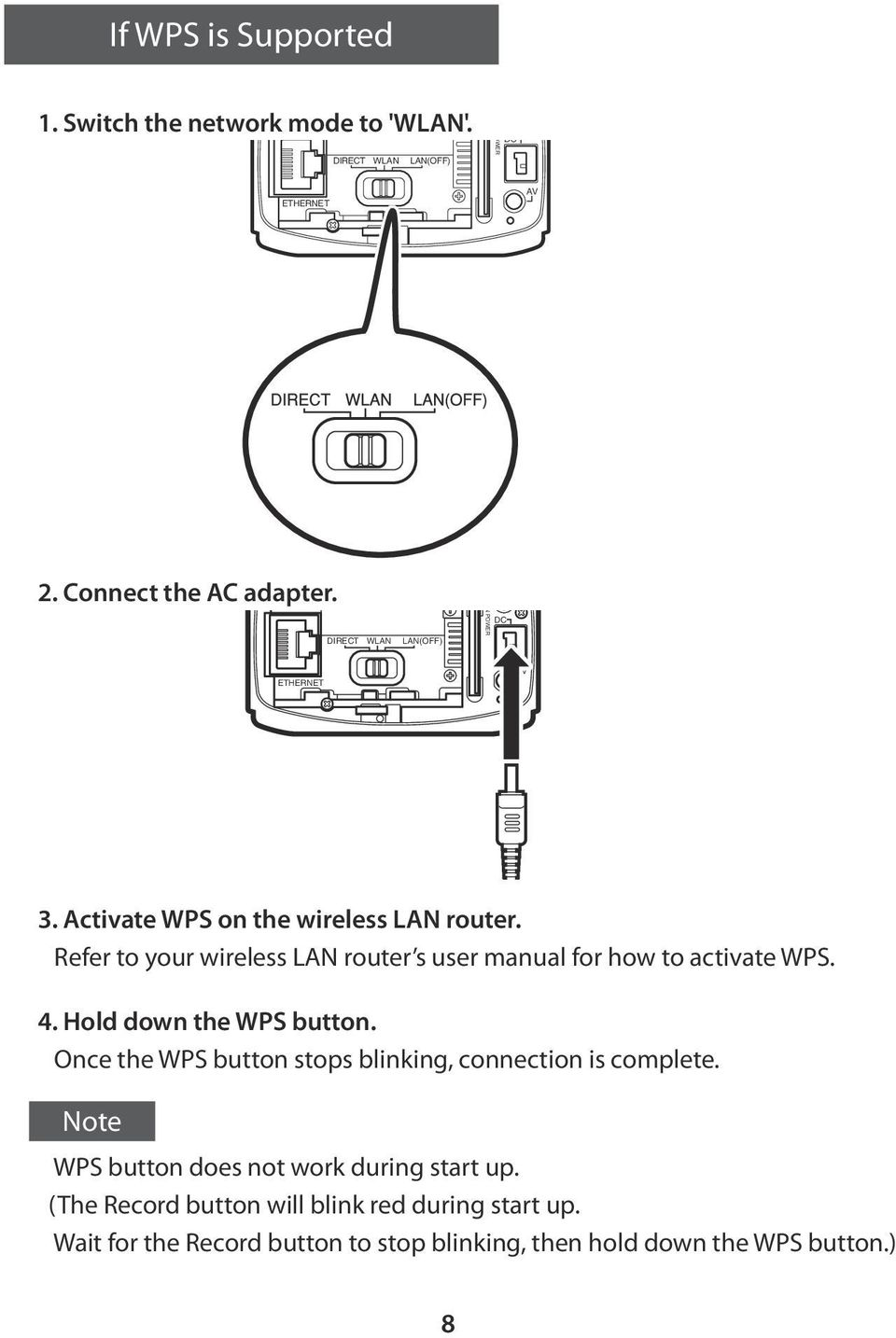 Refer to your wireless LAN router s user manual for how to activate WPS. 4. Hold down the WPS button.