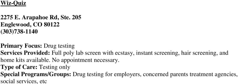 lab screen with ecstasy, instant screening, hair screening, and home kits available.