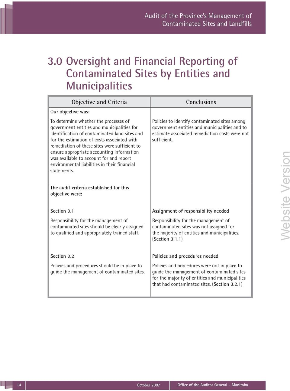 was available to account for and report environmental liabilities in their financial statements. The audit criteria established for this objective were: Section 3.