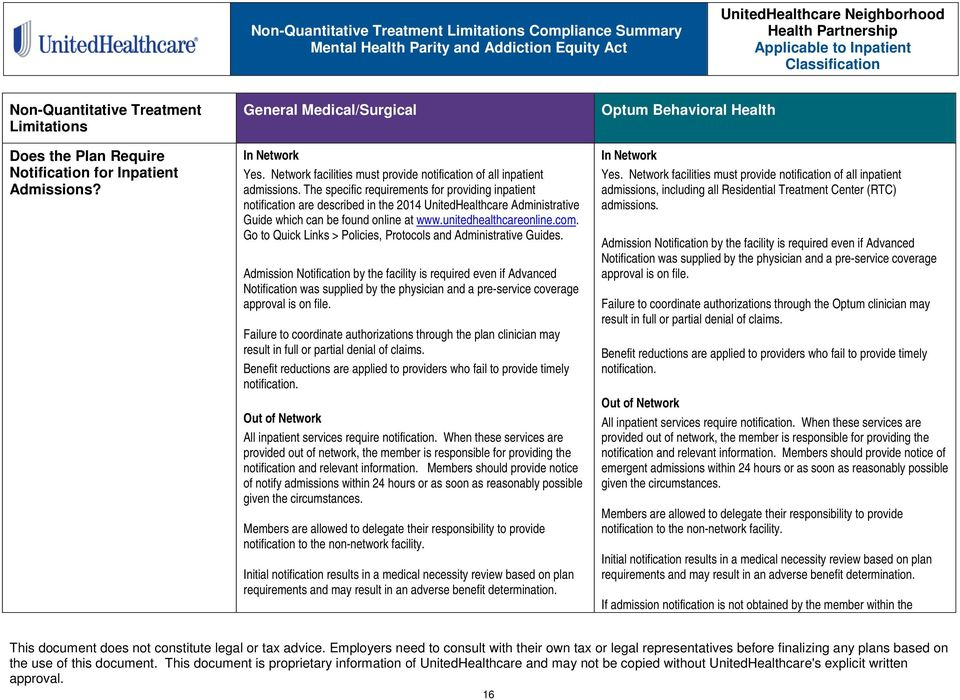 The specific requirements for providing inpatient notification are described in the 2014 UnitedHealthcare Administrative Guide which can be found online at www.unitedhealthcareonline.com.