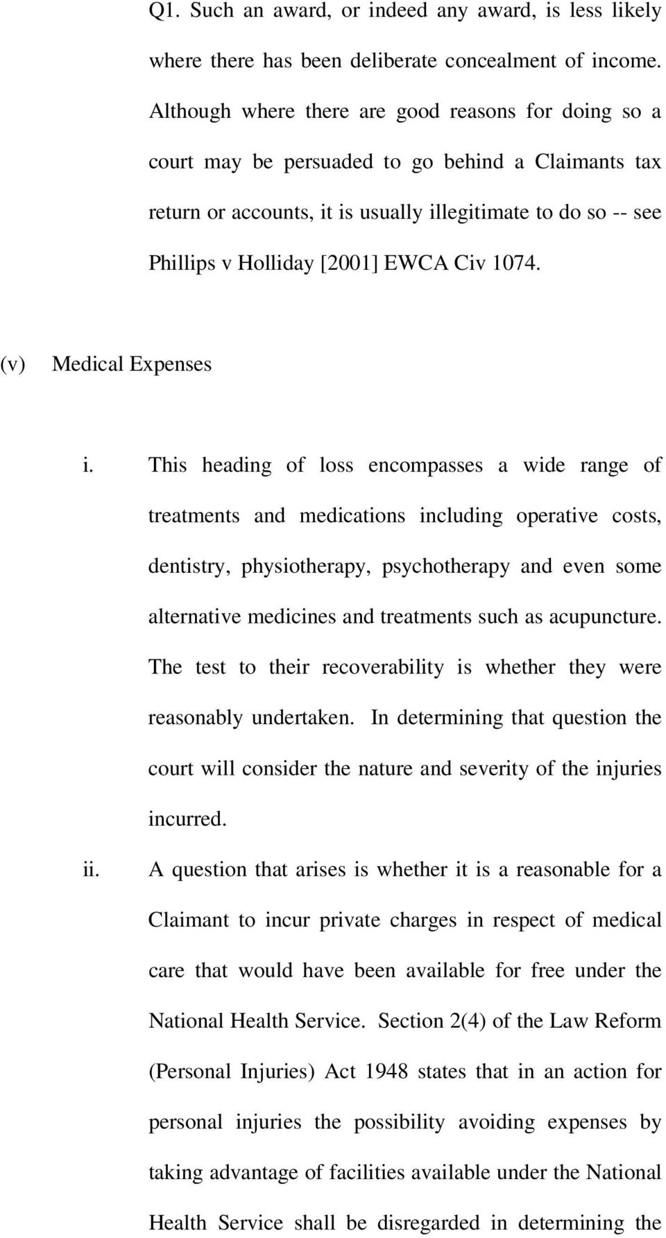Civ 1074. (v) Medical Expenses i.