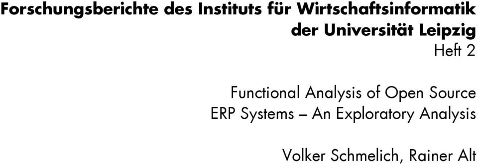 Heft 2 Functional Analysis of Open Source ERP