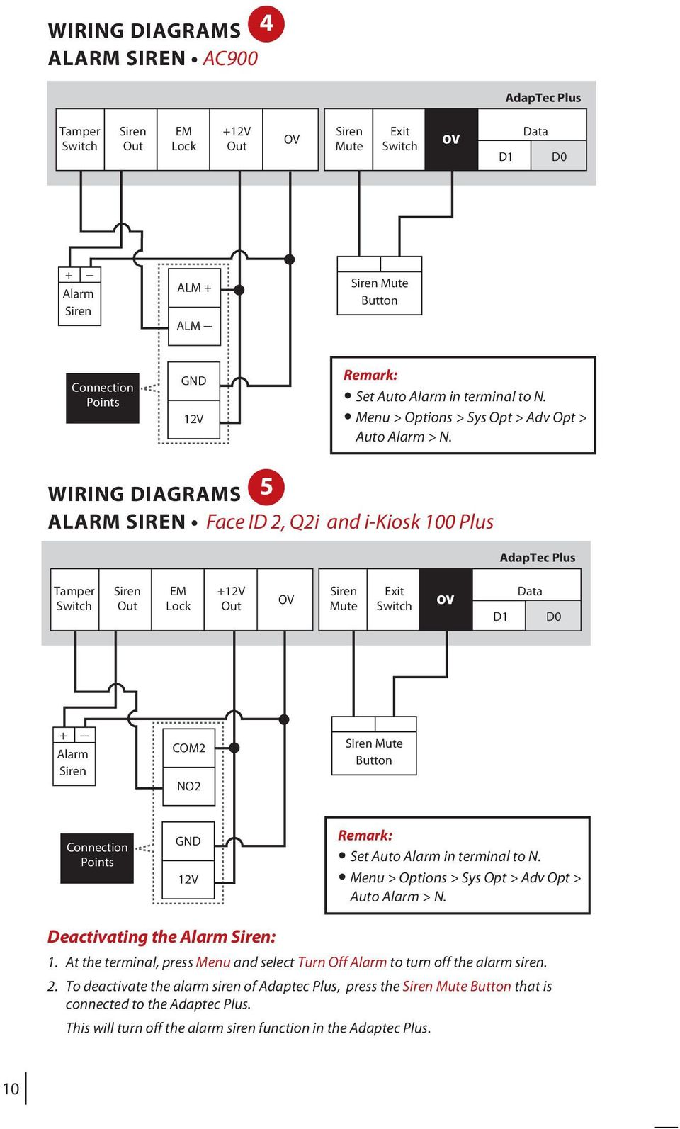 WIRING DIAGRAMS 5 ALARM SIREN Face ID, Qi and i-kiosk 100 Plus AdapTec Plus Tamper Siren EM +1V Siren Exit Data Switch Out Lock Out Mute Switch D1 D0 + --- Alarm Siren COM NO Siren Mute Button