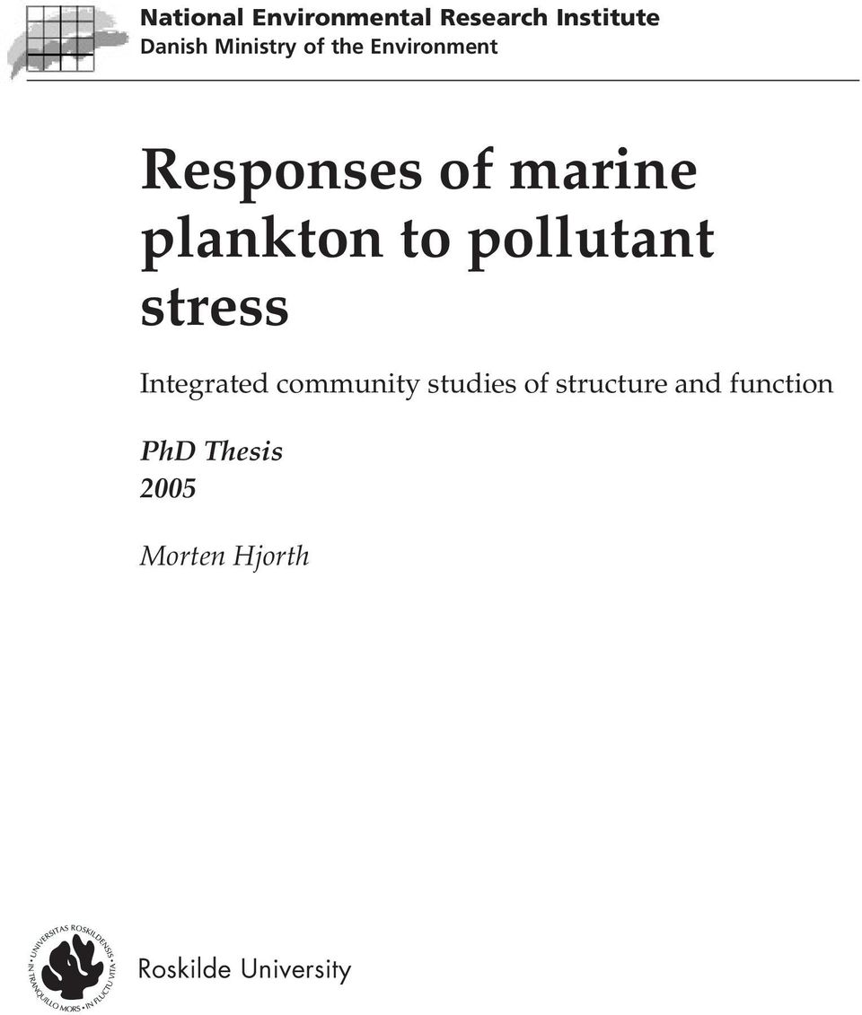 pollutant stress Integrated community studies of