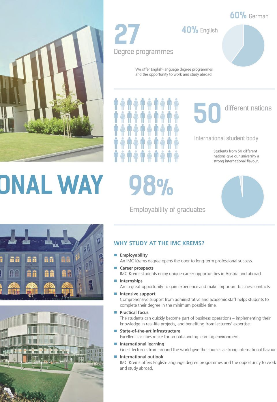 nal way 98% Employability of graduates Why study at the IMC Krems? Employability An IMC Krems degree opens the door to long-term professional success.