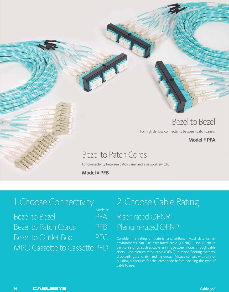 Choose Cable Rating Riser-rated OFNR Plenum-rated OFNP Consider fire rating of material and airflow. Most data center environments can use riser-rated cable (OFNR).