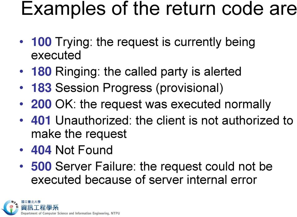 was executed normally 401 Unauthorized: the client is not authorized to make the request 404