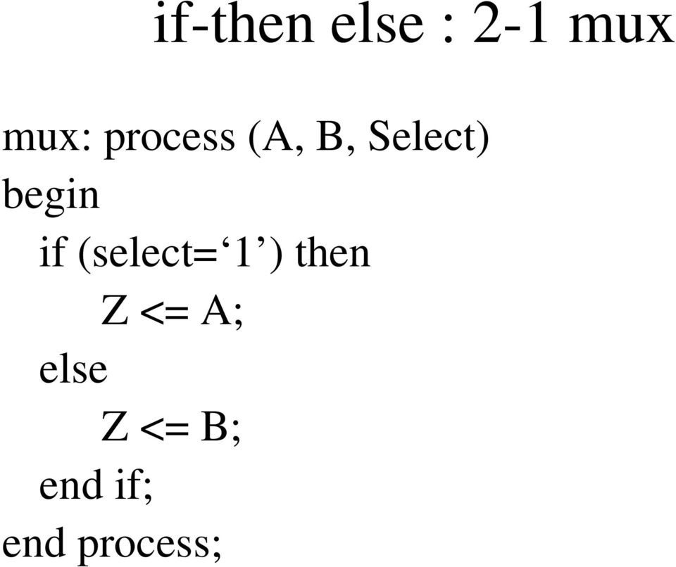 if (select= 1 ) then Z <= A;