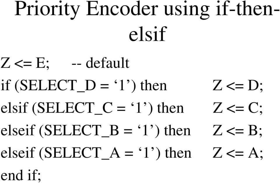 (SELECT_C = 1 ) then Z <= C; elseif (SELECT_B = 1