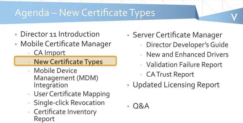 click Revocation - Certificate Inventory Report Server Certificate Manager - Director Developer s