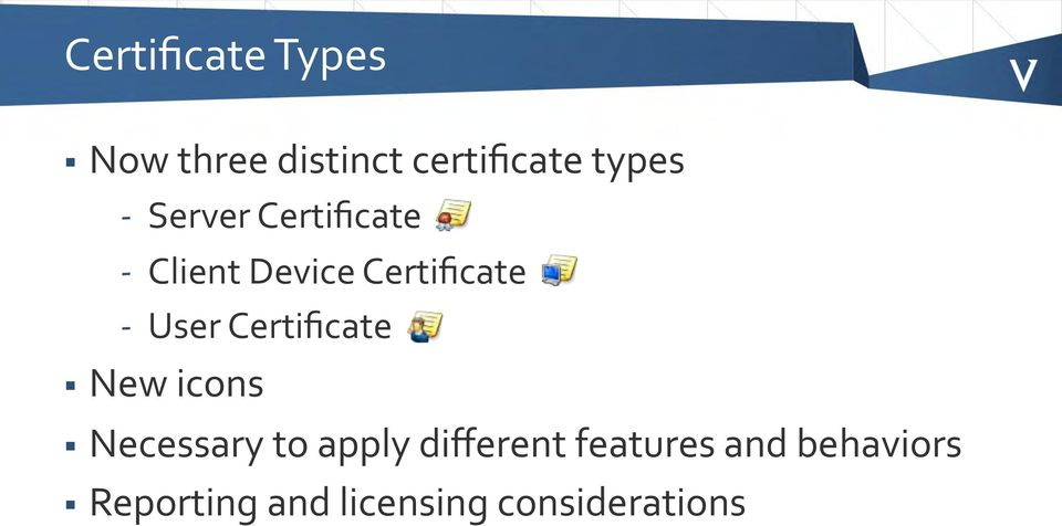 Certificate New icons Necessary to apply different