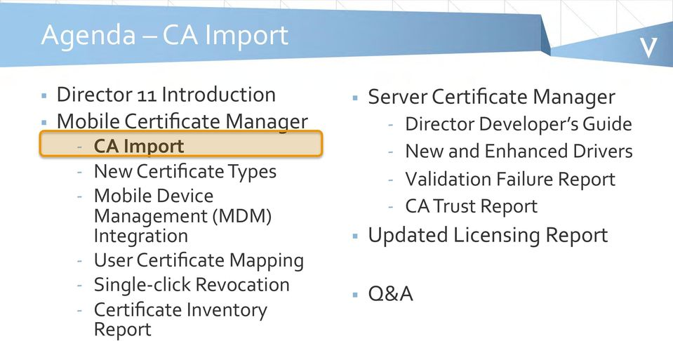 Single- click Revocation - Certificate Inventory Report Server Certificate Manager - Director