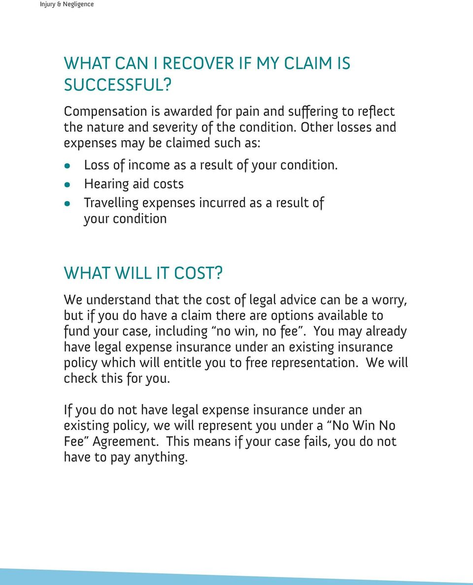 We understand that the cost of legal advice can be a worry, but if you do have a claim there are options available to fund your case, including no win, no fee.