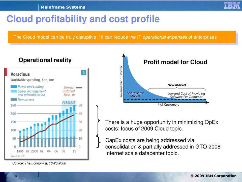 opportunity in minimizing OpEx costs: focus of 2009 Cloud topic.