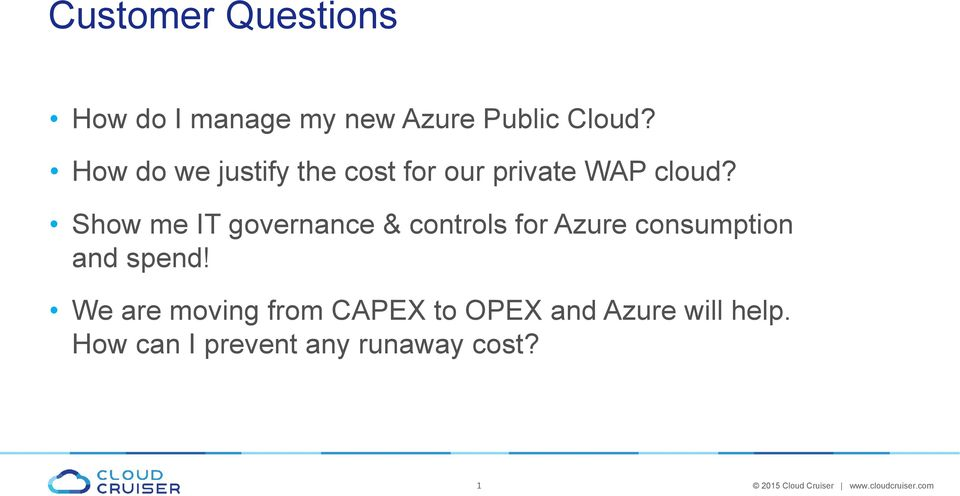 Show me IT governance & controls for Azure consumption and spend!