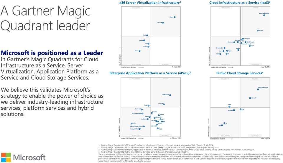 July 2014. 2. Gartner, Magic Quadrant for Cloud Infrastructure as a Service, Lydia Leong, Douglas Toombs, Bob Gill, Gregor Petri, Tiny Haynes, 28 May 2014. 3.