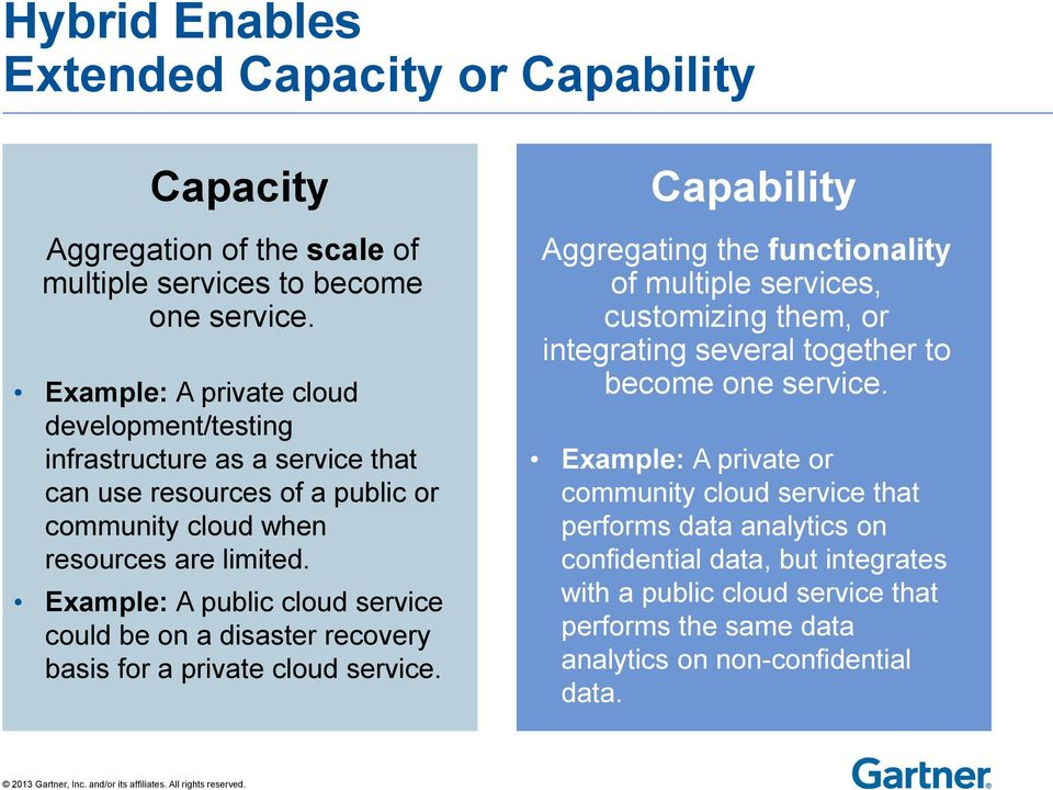 Example: A public cloud service could be on a disaster recovery basis for a private cloud service.