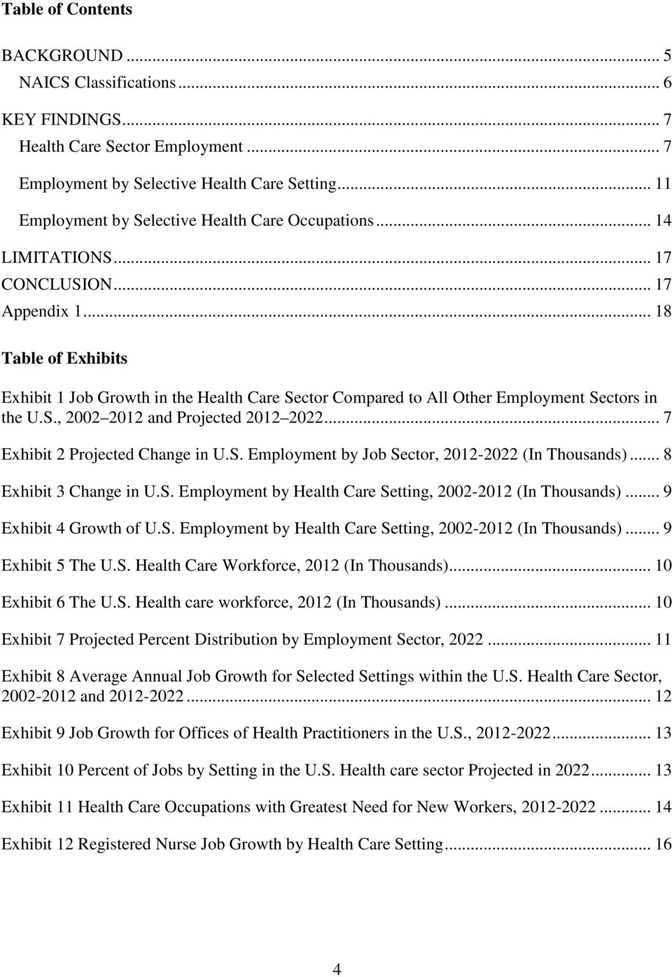 .. 18 Table of Exhibits Exhibit 1 Job Growth in the Health Care Sector Compared to All Other Employment Sectors in the U.S., 2002 2012 and Projected 2012 2022... 7 Exhibit 2 Projected Change in U.S. Employment by Job Sector, 2012-2022 (In Thousands).