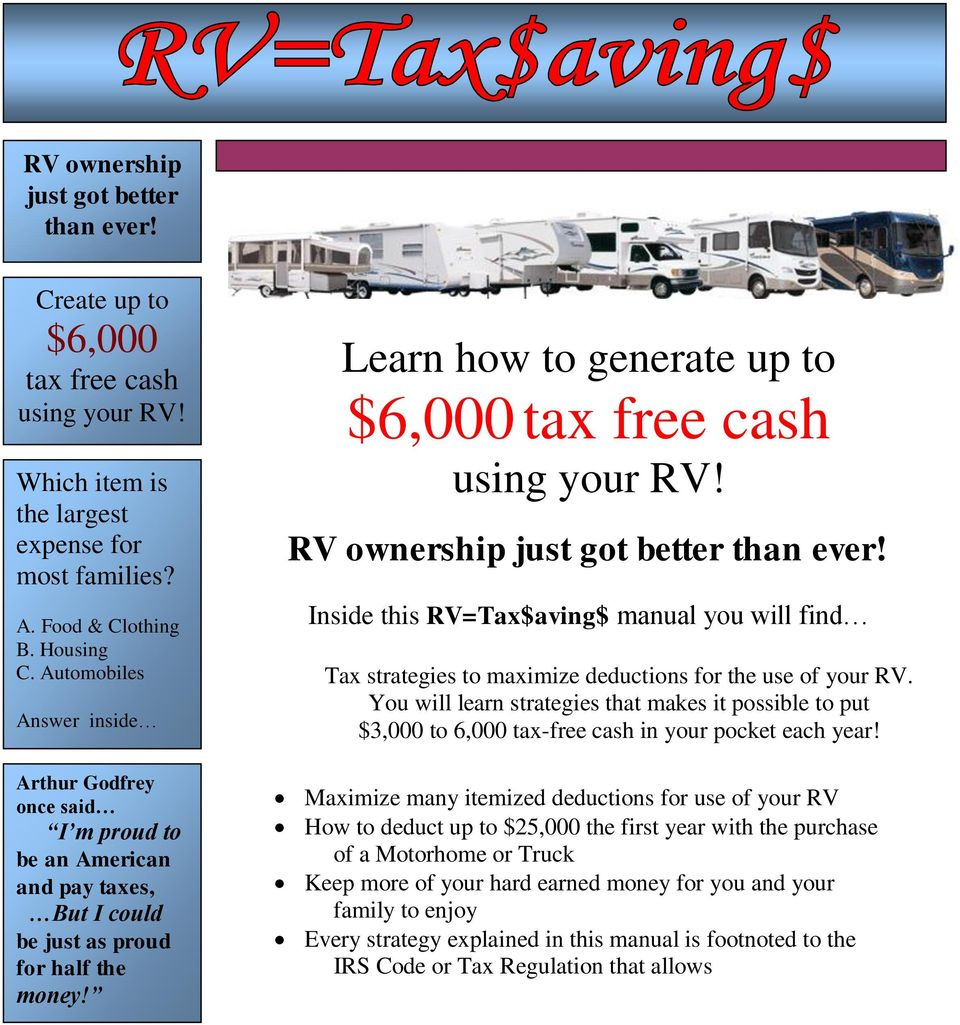 Learn how to generate up to $6,000 tax free cash using your RV! RV ownership just got better than ever!