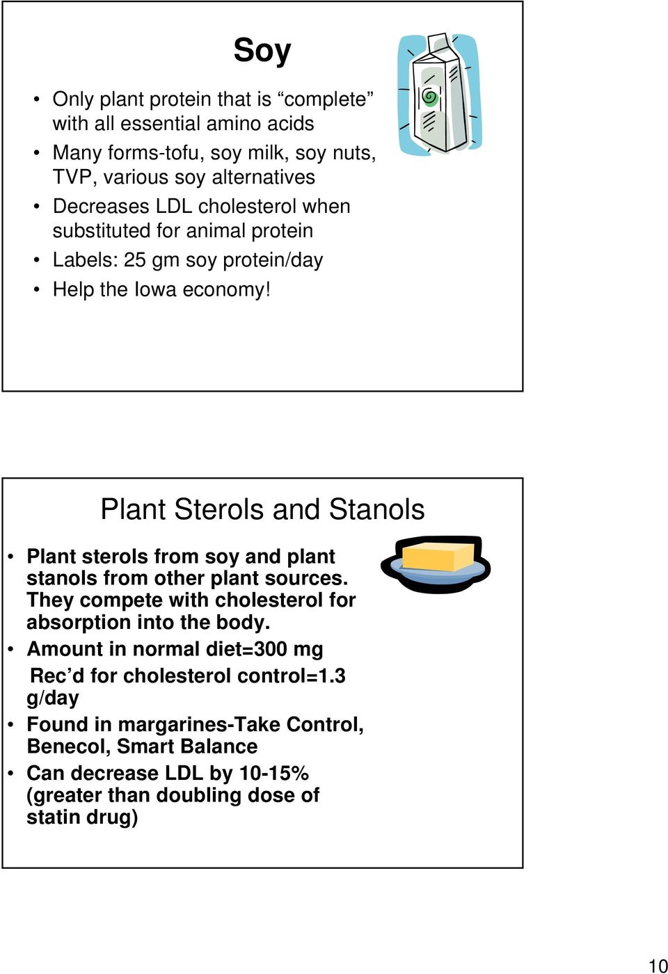 Plant Sterols and Stanols Plant sterols from soy and plant stanols from other plant sources. They compete with cholesterol for absorption into the body.