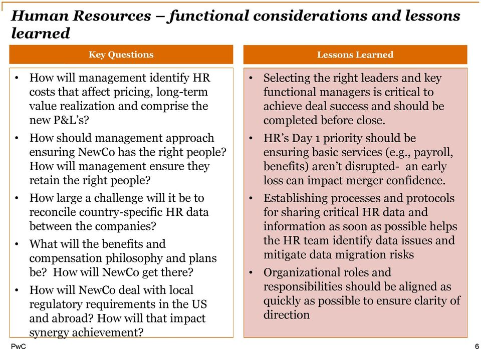 How large a challenge will it be to reconcile country-specific HR data between the companies? What will the benefits and compensation philosophy and plans be? How will NewCo get there?