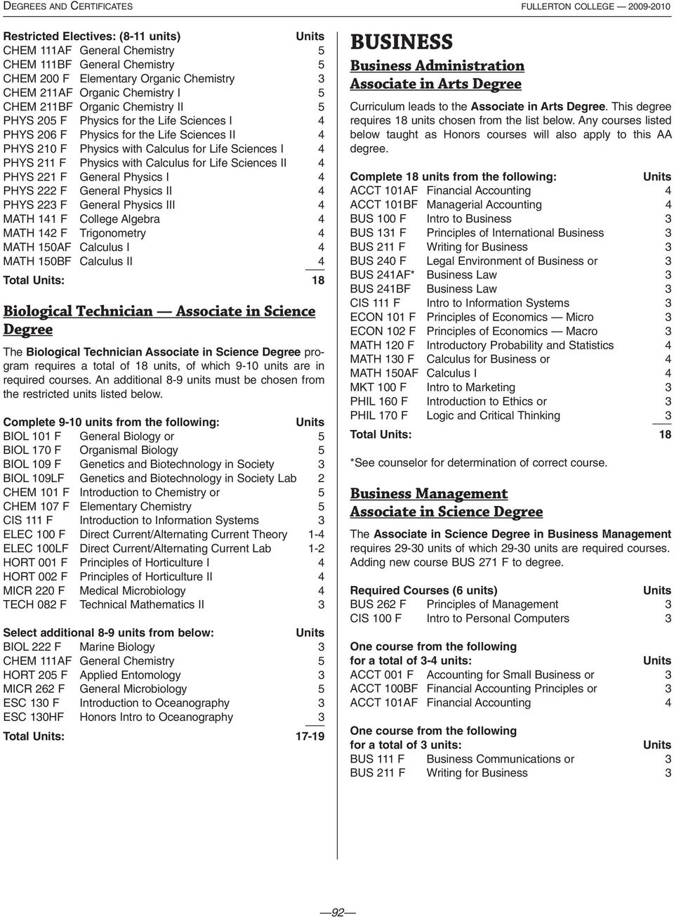 Sciences I 4 PHYS 211 F Physics with Calculus for Life Sciences II 4 PHYS 221 F General Physics I 4 PHYS 222 F General Physics II 4 PHYS 223 F General Physics III 4 MATH 141 F College Algebra 4 MATH