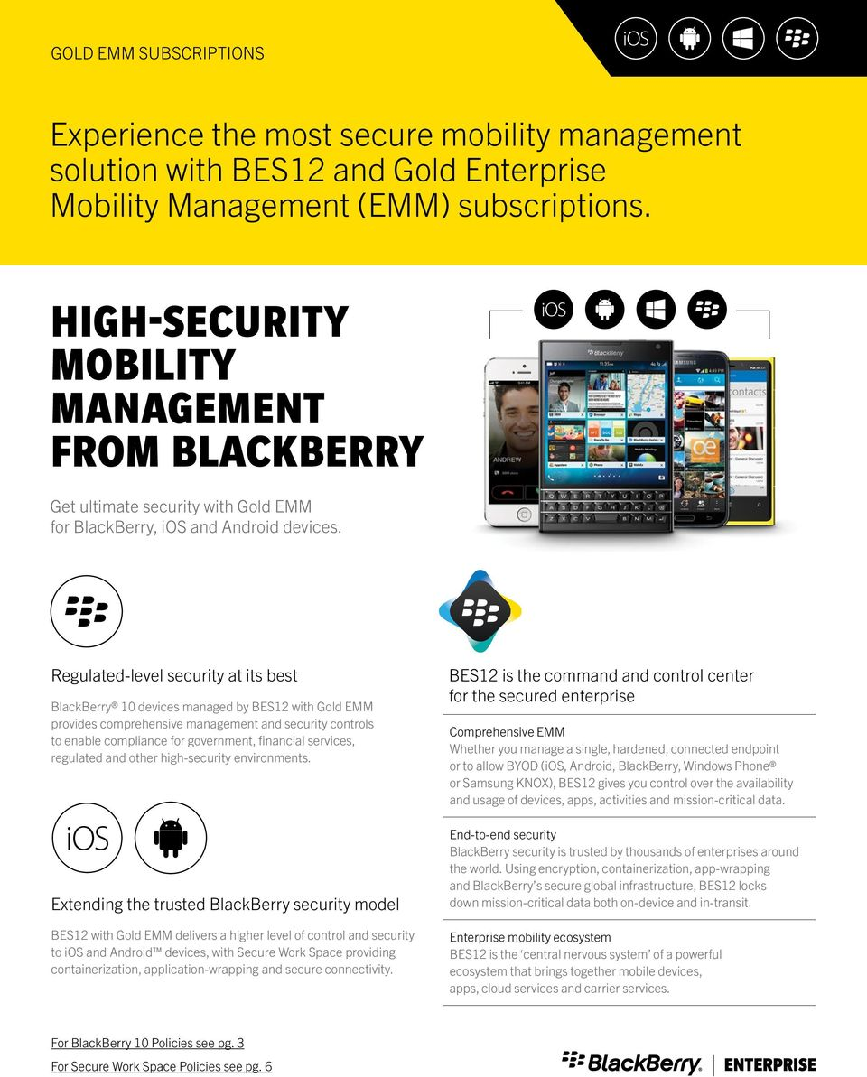 Regulated-level security at its best BlackBerry 10 devices managed by BES12 with Gold EMM provides comprehensive management and security controls to enable compliance for government, financial