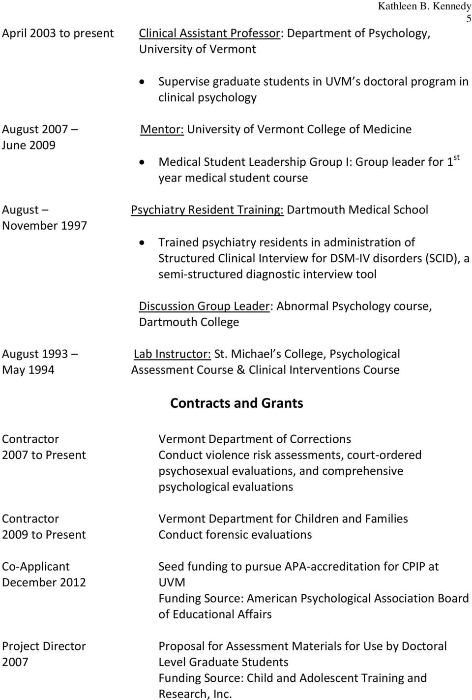 November 1997 Mentor: University of Vermont College of Medicine Medical Student Leadership Group I: Group leader for 1 st year medical student course Psychiatry Resident Training: Dartmouth Medical