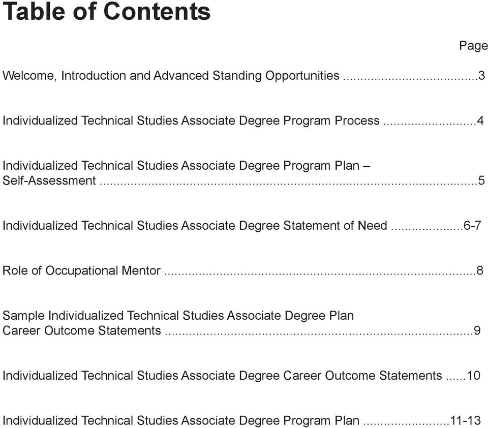 ..4 Individualized Technical Studies Associate Degree Program Plan Self-Assessment.
