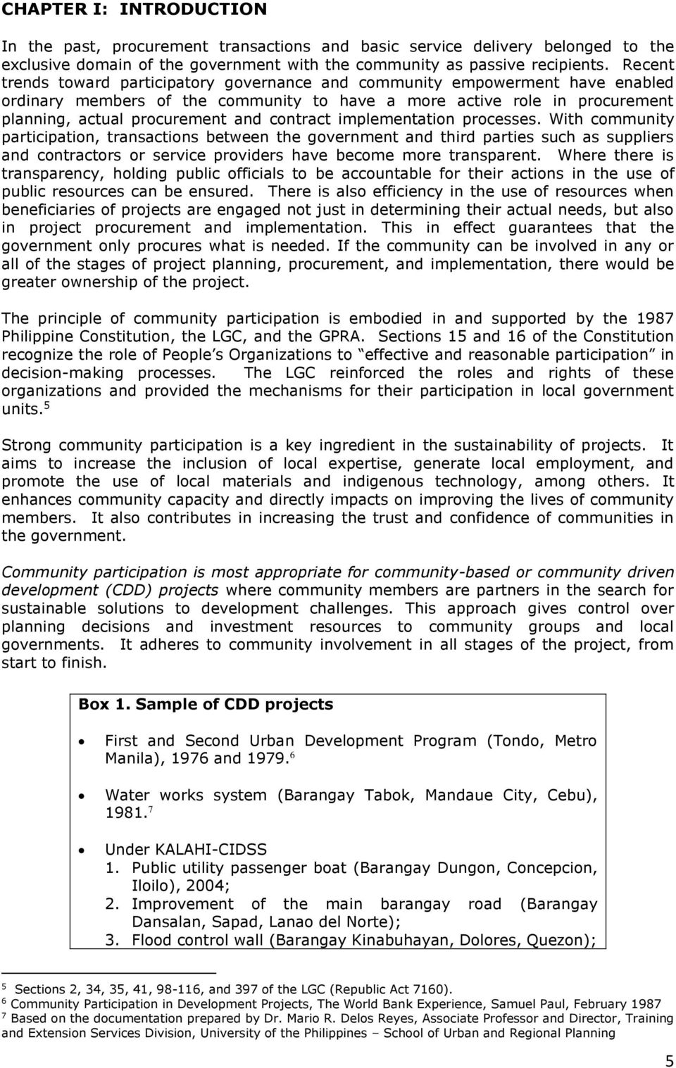 MANUAL ON COMMUNITY PARTICIPATION IN GOVERNMENT PROCUREMENT