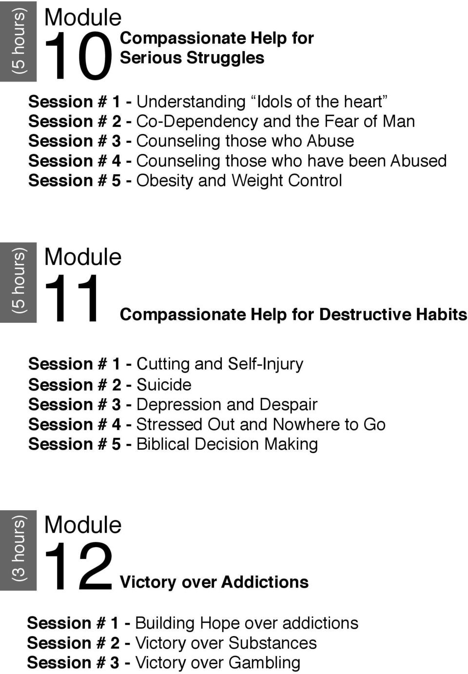 those who Abuse Session # 4 - Counseling those who have been Abused Session # 5 - Obesity and Weight Control (5 hours) 11 Compassionate Help for Destructive Habits