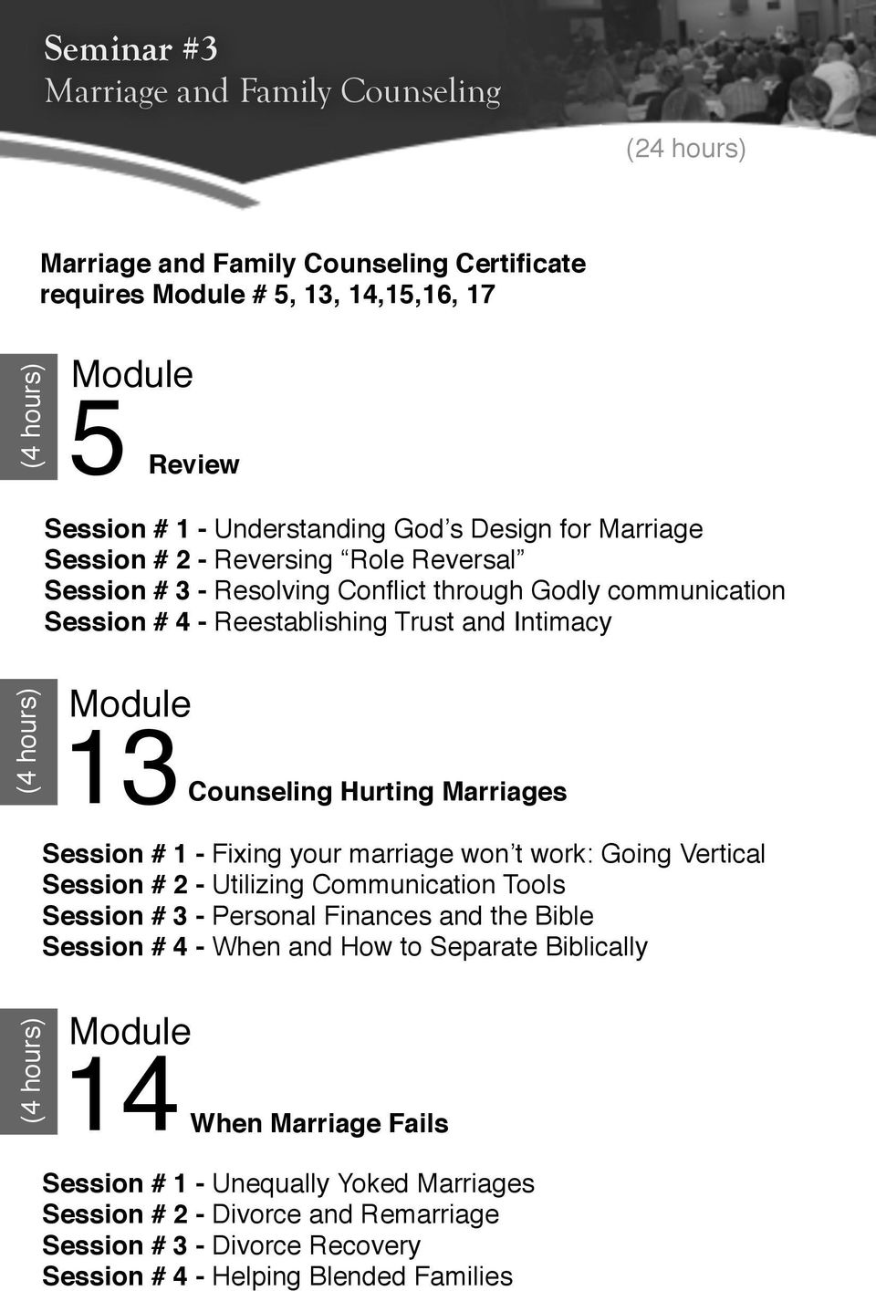 Marriages Session # 1 - Fixing your marriage won t work: Going Vertical Session # 2 - Utilizing Communication Tools Session # 3 - Personal Finances and the Bible Session # 4 - When and How to