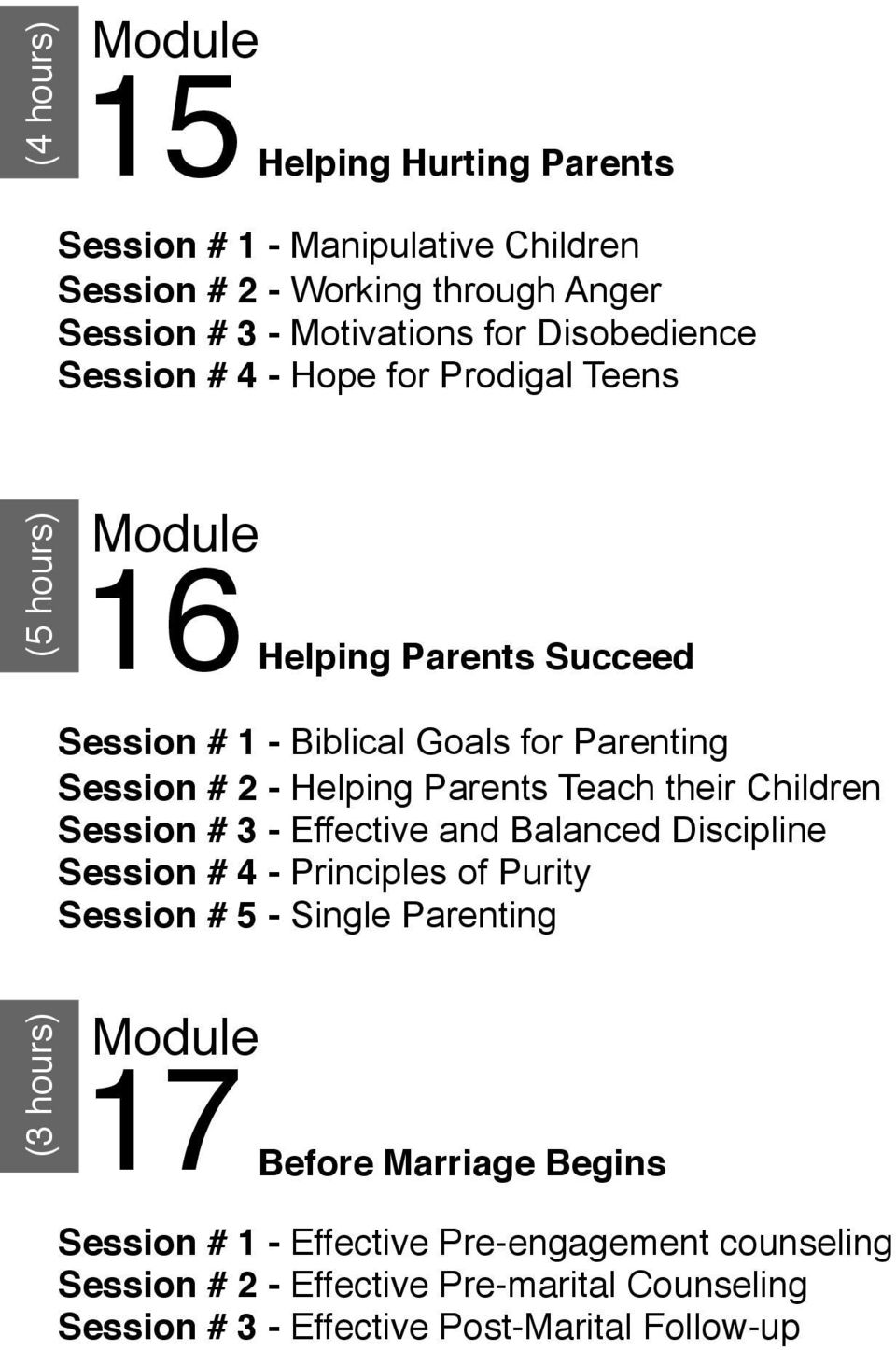 their Children Session # 3 - Effective and Balanced Discipline Session # 4 - Principles of Purity Session # 5 - Single Parenting (3 hours) 17 Before