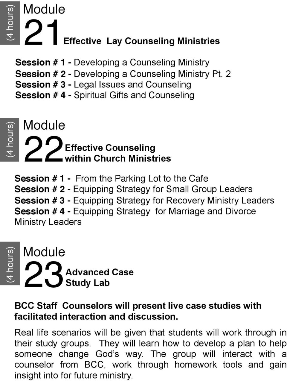 Equipping Strategy for Small Group Leaders Session # 3 - Equipping Strategy for Recovery Ministry Leaders Session # 4 - Equipping Strategy for Marriage and Divorce Ministry Leaders (4 hours) 23
