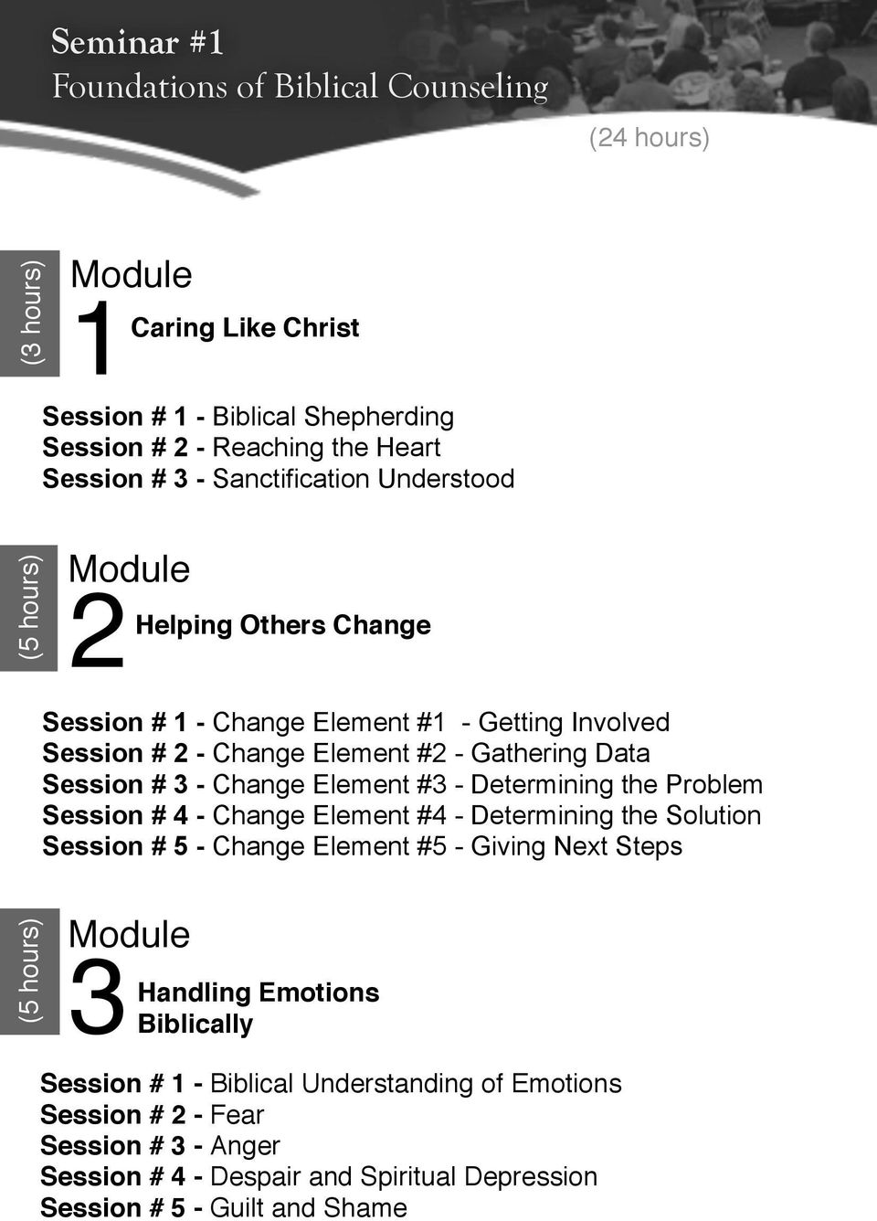 Change Element #3 - Determining the Problem Session # 4 - Change Element #4 - Determining the Solution Session # 5 - Change Element #5 - Giving Next Steps (6 (5 hours) 3Handling