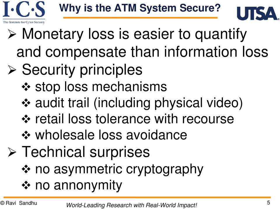 Security principles stop loss mechanisms audit trail (including physical